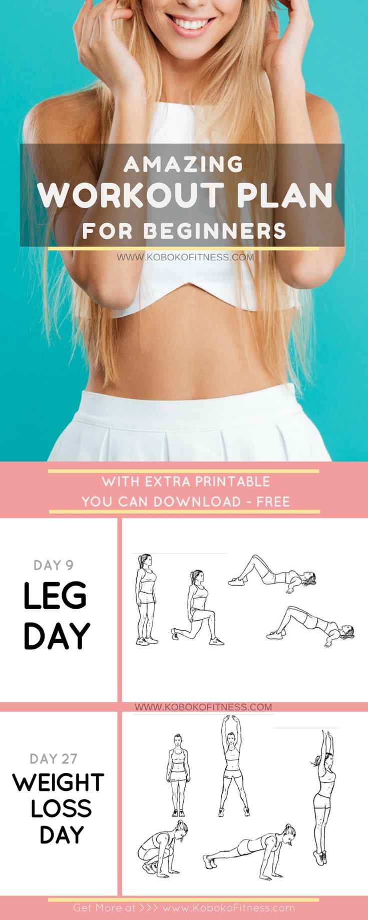 30 Day Workout Plan for Beginners (+ Easy Free Printable) - Koboko